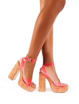 Public Desire Kayla Neon Perspex Cork Platform Block Heels
