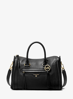 MICHAEL Michael Kors MK Carine Medium Pebbled Leather Satchel - Black - Michael Kors