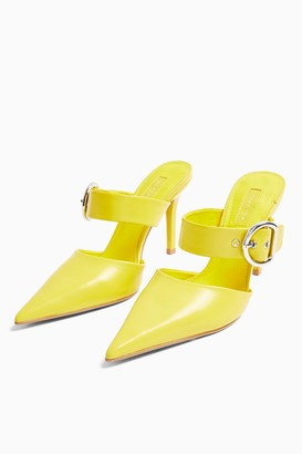 Topshop FEATHER Neon Yellow Backless Court Shoes