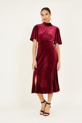 Yumi Pink Tie Velvet Midi Dress
