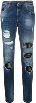 John Richmond studded detail straight-leg jeans