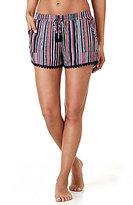 Kensie Crochet-Trimmed Striped Sleep Shorts