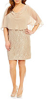 Jessica Howard Plus Metallic Lace Drape Neck Sheath Dress