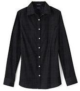 Lands' End Women's Long Sleeve Textured Plaid Broadcloth Shirt-True Blue
