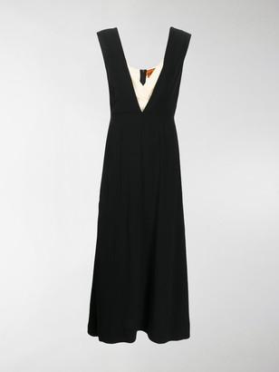 Colville long deep V-neck dress