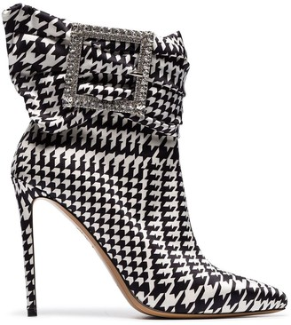Alexandre Vauthier black and white Yasmin 100 houndstooth print buckle embellished ankle boots