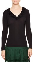 Sandro Women's Ruffle Trim V-Neck Sweater