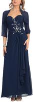 Navy Strapless Gown & Shrug - Plus Too