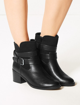 Marks and Spencer Buckle Strap Block Heel Ankle Boots
