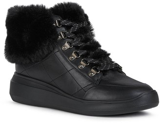 Geox D-Rubidia Leather &Faux Fur Wedge Trainers - Black