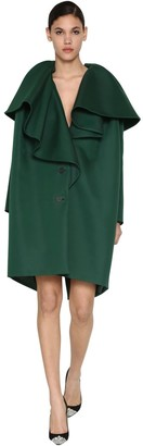 DELPOZO Ruffled Cotton Blend Twill Coat