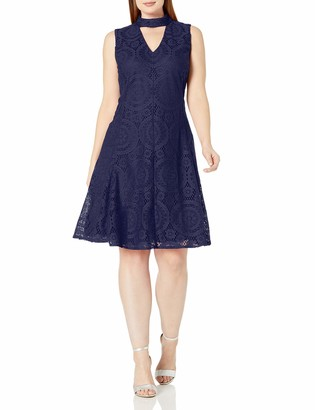 London Times Women's Plus Size Deep V Neck Fit and Flare Lace Dress
