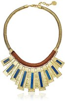 Vince Camuto Moroccan Drama Gold Ox/Brown/Blue Swirl Necklace, 18""