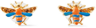 Ben-Amun 24-karat Gold-plated, Swarovski Crystal And Enamel Earrings