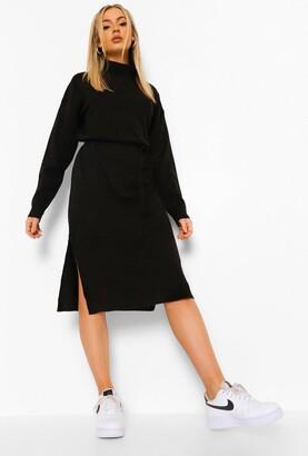 boohoo Fine Gauge Turtleneck Midaxi Sweater Dress