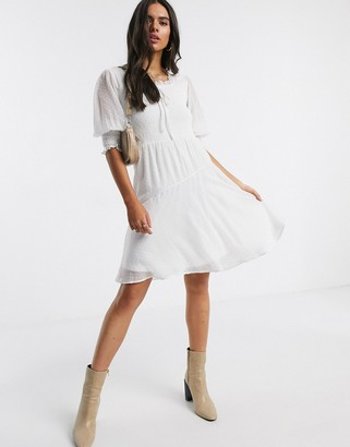 Vero Moda skater dress with square neck and puff sleeves in white dobby mesh