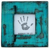 Blue Distressed Square Wood Photo Frame (3x3) from India, 'Weathered Blue'