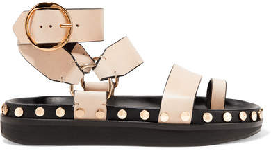 Isabel Marant Nirvy Studded Leather Sandals - Beige