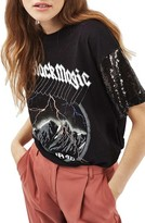 Topshop Women's Sequin Sleeve Rock Tee