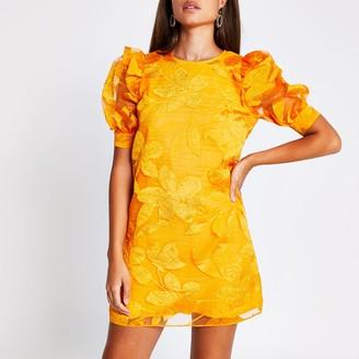 River Island Womens Orange organza puff sleeve mini dress