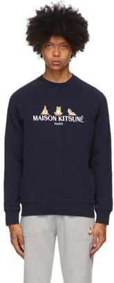 MAISON KITSUNÉ SSENSE Exclusive Navy 3 Yoga Foxes Sweatshirt