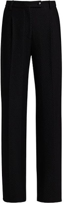 St. John Herringbone Knit Wool Trousers