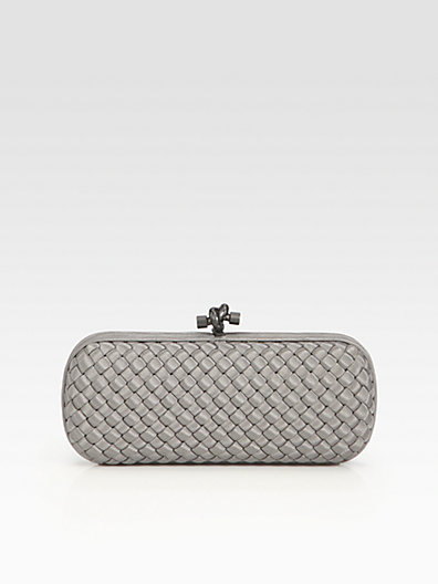 Bottega Veneta Woven Silk Faille Clutch
