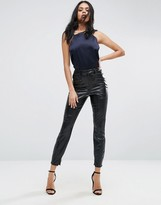 Asos Snake Wetlook Skinny Cigarette Pants
