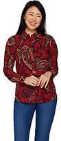 Denim & Co. Long Sleeve Button Front PaisleyPrint Shirt