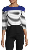 Karen Scott Petite Striped Colour Block Shirt