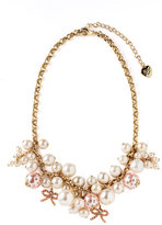 Betsey Johnson Pearl Statement Charm Necklace