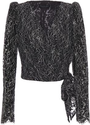 Rachel Zoe Metallic Corded Lace Wrap Top