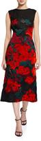 Oscar de la Renta Floral-Embroidered Lace Midi Dress