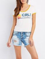 Charlotte Russe California Graphic Ringer Tee