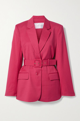 Rebecca Vallance Dallas Belted Wool-blend Blazer - Bright pink