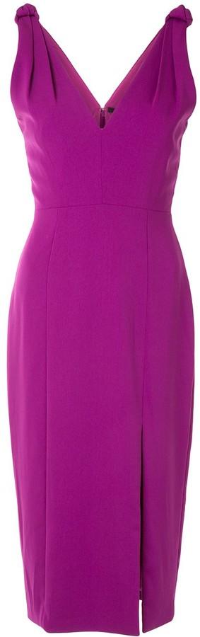 Jay Godfrey Front Slit Fitted Sleeveless Dress