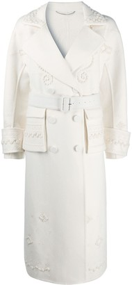 Ermanno Scervino Embroidered Double-Breasted Trench Coat