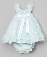 Laura Ashley Blue Lace Yoke Dress & Diaper Cover - Girls