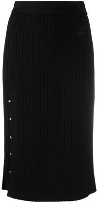 Bally Ribbed Knit Midi Skirt