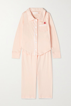 SKIN KIDS Piped Embroidered Organic Pima Cotton-jersey Pajama Set - Pink