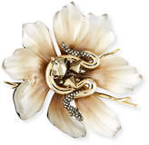 Alexis Bittar Lucite Flower & Crystal Snake Pin
