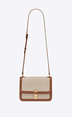 Saint Laurent Monogramme Satchel Carre Satchel In Canvas And Smooth Leather Beige Naturel Onesize