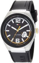 Tommy Hilfiger Men's 1790724 Logo Embossed Stainless Steel Black Silicon Watch