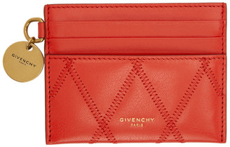 Givenchy Red Diamond Quilted GV3 Card Holder