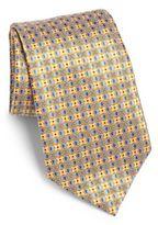 Ermenegildo Zegna Floral Box Print Silk Tie
