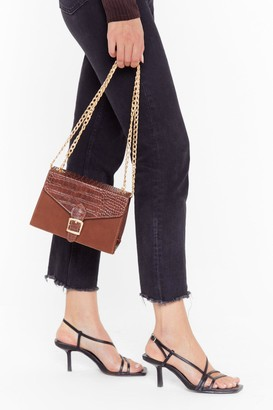 Nasty Gal Womens WANT Croc Your Body Faux Leather Bag - Brown - One Size