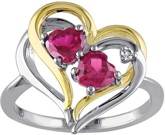 Stella Grace 2-Tone Silver Lab Created Ruby & Diamond Accent Double Heart Ring