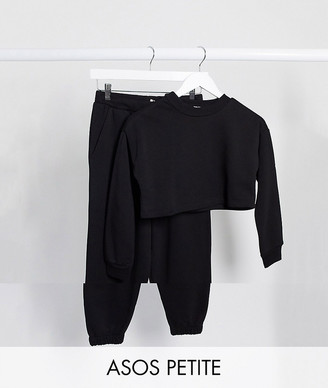 ASOS DESIGN Petite tracksuit cropped sweat / oversized jogger in black
