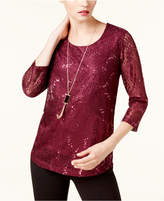 JM Collection Petite Lace Top with Necklace, Created for Macy's