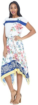 Maggy London Placement Print Hanky Hem Dress (Soft White/Blue/Maroon) Women's Clothing